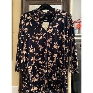 Dressy Floral Half-Sleeve Top